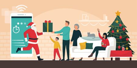 Santa Claus delivering gifts at home, he is stepping out from a smartphone and giving the present to a happy family at Christmas