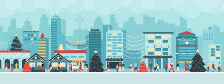 Colorful city with lights at Christmas, people are walking in the street and enjoying together the festive atmosphere, holiday and celebration concept