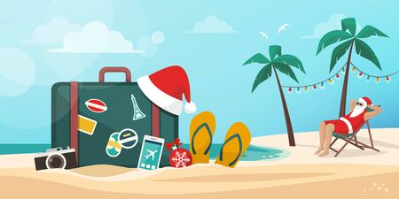 Santa Claus having a vacation on the beach: Christmas vacation, tourism and travel concept 向量圖像
