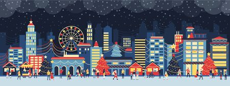 Colorful city with lights at Christmas, people are walking in the street and enjoying together the festive atmosphere at night Ilustração