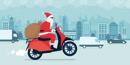 Contemporary Santa Claus delivering gifts on Christmas Eve, he is riding a red moped and driving in the city street traffic Ilustração