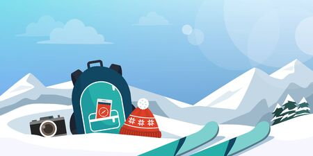 Tourist exploring mountains at winter and skiing, travel equipment on the snow 向量圖像