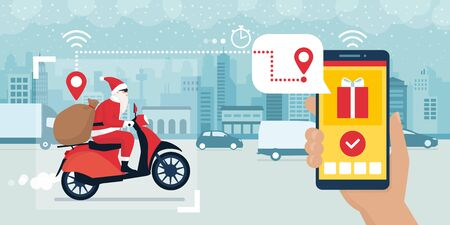Contemporary Santa Claus riding a moped and delivering Christmas gifts, delivery app tracking in the foreground Ilustração