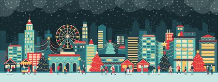 Colorful city with lights at Christmas, people are walking in the street and enjoying together the festive atmosphere at night, holiday and celebration concept