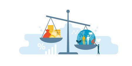 Échelle avec la richesse et l'argent liquide sur une assiette et les gens, le monde, l'environnement sur l'autre; équilibrer les bénéfices des entreprises et les droits de l'homme Vecteurs