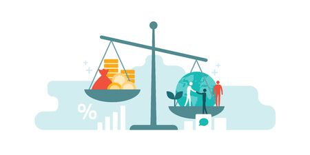 Échelle avec la richesse et l'argent liquide sur une assiette et les gens, le monde, l'environnement sur l'autre; équilibrer les bénéfices des entreprises et les droits de l'homme