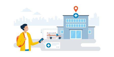 Happy woman finding an hospital using a GPS navigation app on her smartphone Ilustração