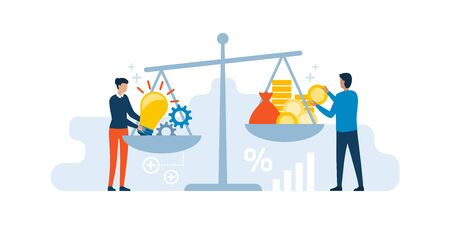 Woman putting her creative ideas on a dish of a scale and investor adding cash money on the other dish: selling ideas, patents and investments concept