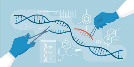 Wissenschaftler analysieren DNA-Helix und bearbeiten Genome innerhalb von Organismen, CRISPR-Technologie Vektorgrafik