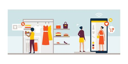 Women shopping for clothes and using new innovative technologies: augmented reality app on a smartphone and virtual fitting room on a touch screen digital display