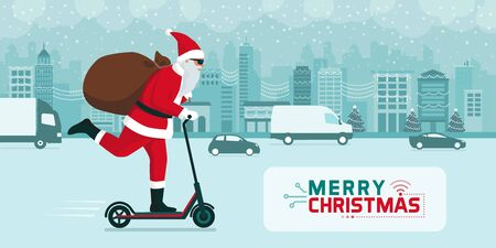 Futuristic Santa Claus carrying gifts on a electric kick scooter in the city street at Christmas Illustration