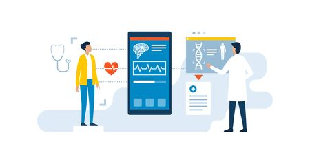 Doctor using innovative medical apps to examine a patient and to give a diagnosis, innovative healthcare concept Ilustração