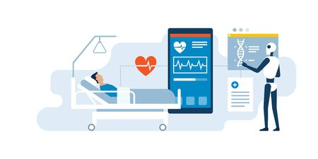 AI robot examining a patient in the hospital using medical applications, innovative healthcare concept