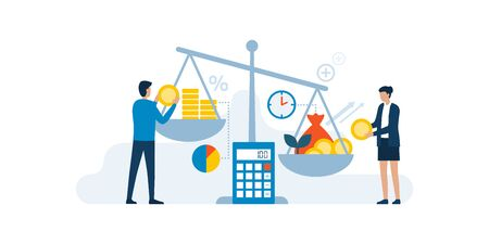 Business people comparing investments and returns on a weight scale, finance and profit concept
