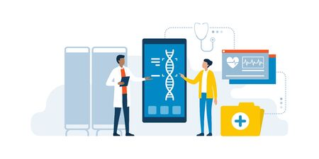 Doctor and patient using medical apps for diagnostics and making a DNA test to detect diseases, innovative healthcare concept Ilustração