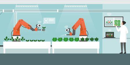 Agricultura en interior con robots automatizados y panel de control, concepto de agricultura inteligente