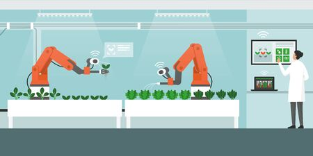 Indoors farming with automated robots and control panel, smart agriculture concept