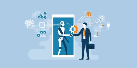 Businessman and AI robot shaking hands and cooperating together for a common goal