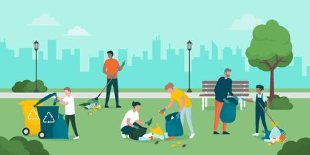Volunteers cooperating together and cleaning up a city park, they are collecting and separating waste, environmental protection concept Ilustração