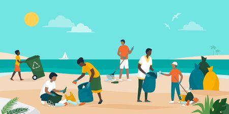 Menschen engagieren sich gemeinsam und säubern den Strand, sie sammeln und trennen Müll, Umweltschutzkonzept