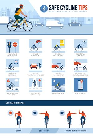 Safe cycling tips for riding safely in the city street an traffic and hand signals