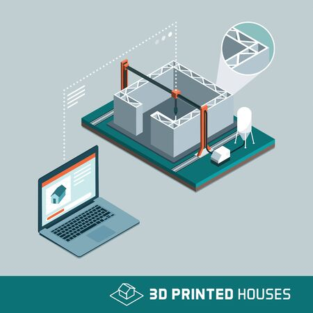 3D printing house technology with 3D printer and connected computer transmitting data and process information Ilustração