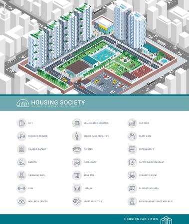 Isometric aerial view of a contemporary efficient cooperative housing society with services