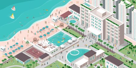 Luxury hotel resort with people, buildings and beach