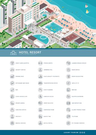 Luxury hotel services icons set and isometric aerial view of the village resort with people