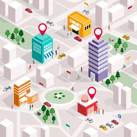 Isometric city map with people, buildings and pin pointers: promote your local business and GPS navigation concept