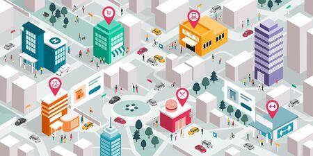 Isometrischer Stadtplan mit Personen, Gebäuden und Pin-Zeigern: Werben Sie für Ihr lokales Geschäfts- und GPS-Navigationskonzept Vektorgrafik