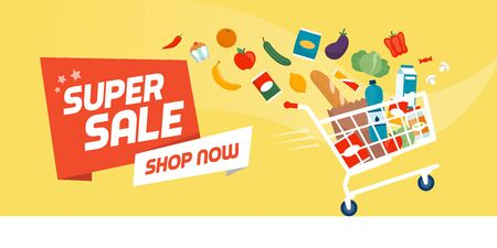 Grocery shopping promotional sale banner: fast shopping cart full of fresh colorful food