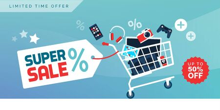 Electronics and devices promotional sale banner with full shopping cart, technology and online shopping concept