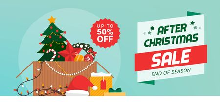 After Christmas sale banner and packing up Christmas decorations in a box Ilustração