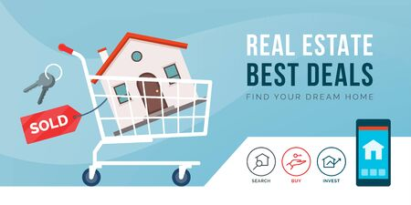 Real estate promotional advertisement with shopping cart carrying a house