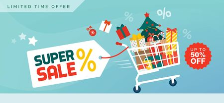 Christmas promotional sale banner: shopping cart filled with decorations, gifts and Christmas tree