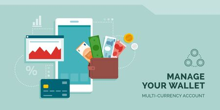 Manage your currency wallet online app: wallet with international currencies, credit card, smartphone app and financial chart