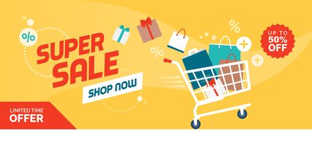 Online shopping promotional sale banner: fast shopping cart full of colorful bags and gifts boxes