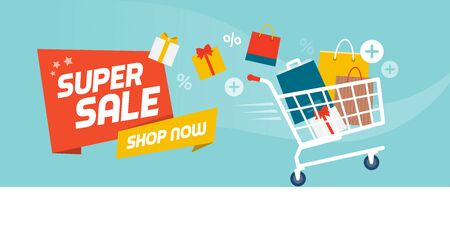 Online shopping promotional sale banner: fast shopping cart full of colorful bags and gifts boxes Ilustração