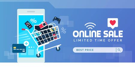 Electronics promotional online sale banner with full shopping cart, smartphone and credit card