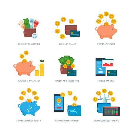 Currency, cryptocurrency and finance concepts: savings, investment, wallet, deposit, online banking and management