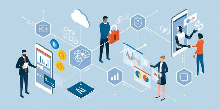 Innovative technologies and finance trends: business people interacting with digital interfaces, charts and artificial intelligence