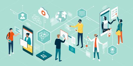 People using innovative technologies for education, attending online courses, interacting with virtual reality and artificial intelligence Vetores