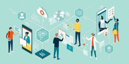 Personnes utilisant des technologies innovantes pour l'éducation, assistant à des cours en ligne, interagissant avec la réalité virtuelle et l'intelligence artificielle Vecteurs