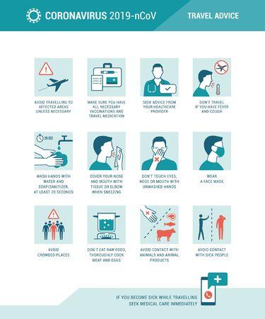 Coronavirus travel advice and prevention medical infographic