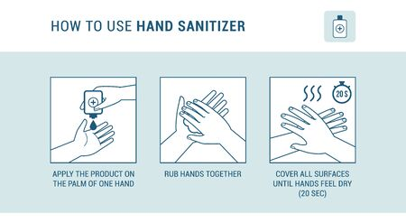 How to use hand sanitizer properly to clean and disinfect hands, medical infographic 矢量图片