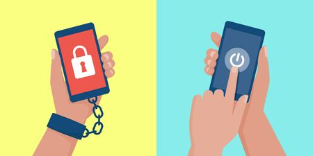 Internet addiction, nomophobia and digital detox: user hand chained to a smartphone and user turning off the phone