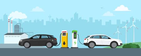 Gasoline car refuel and electric car charge at the station, refinery and  turbines