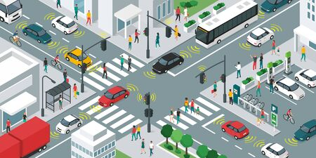 Smart transportation, people and vehicles moving in the city streets using sensors