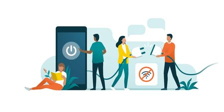 Happy people disconnecting and doing a digital detox, they are unplugging the phone and being offline 向量圖像